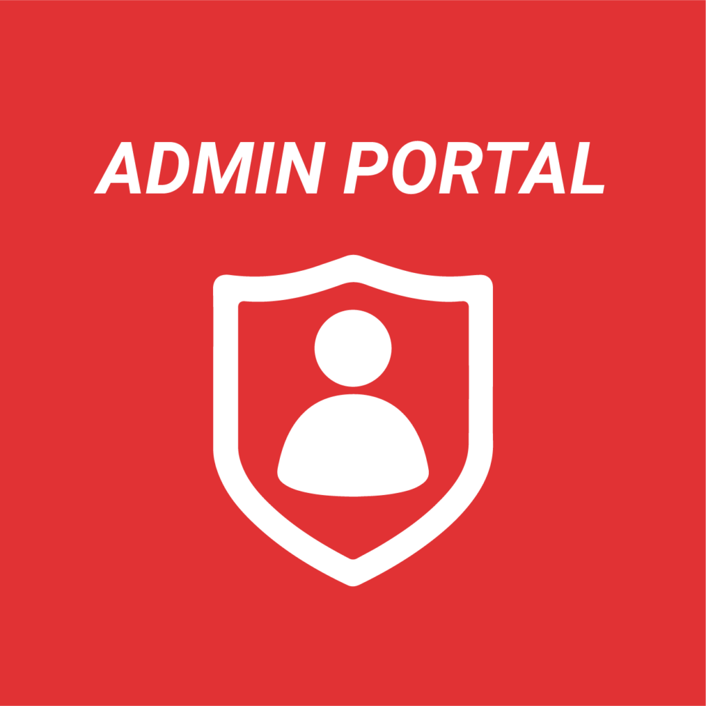 A white icon and text on a red background. The icon shows a person within a badge shape, the text reads: admin portal