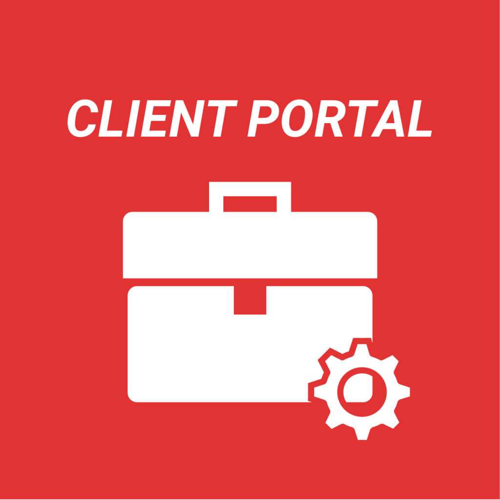 A white icon and text on a red background. The icon shows a brief case with a cog, the text reads: client portal