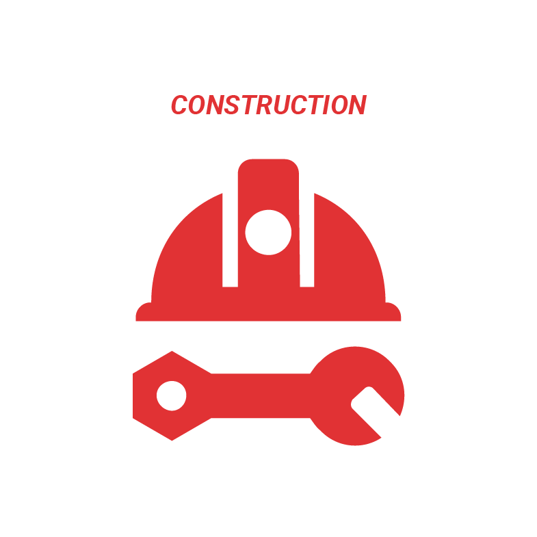 Red icon on a white background which shows a hard hat and tool and text above that reads: Construction