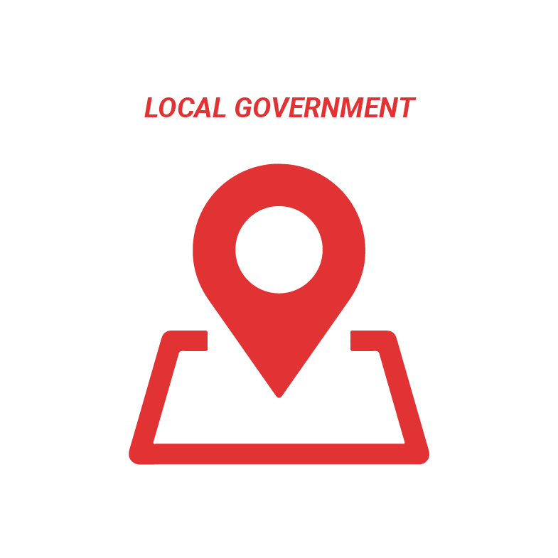 Red icon on a white background which shows a location pin and text above that reads: Local Government