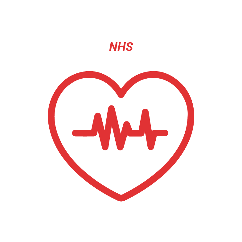 Red icon on a white background which shows a heart shape which a heartbeat inside and text above that reads: NHS