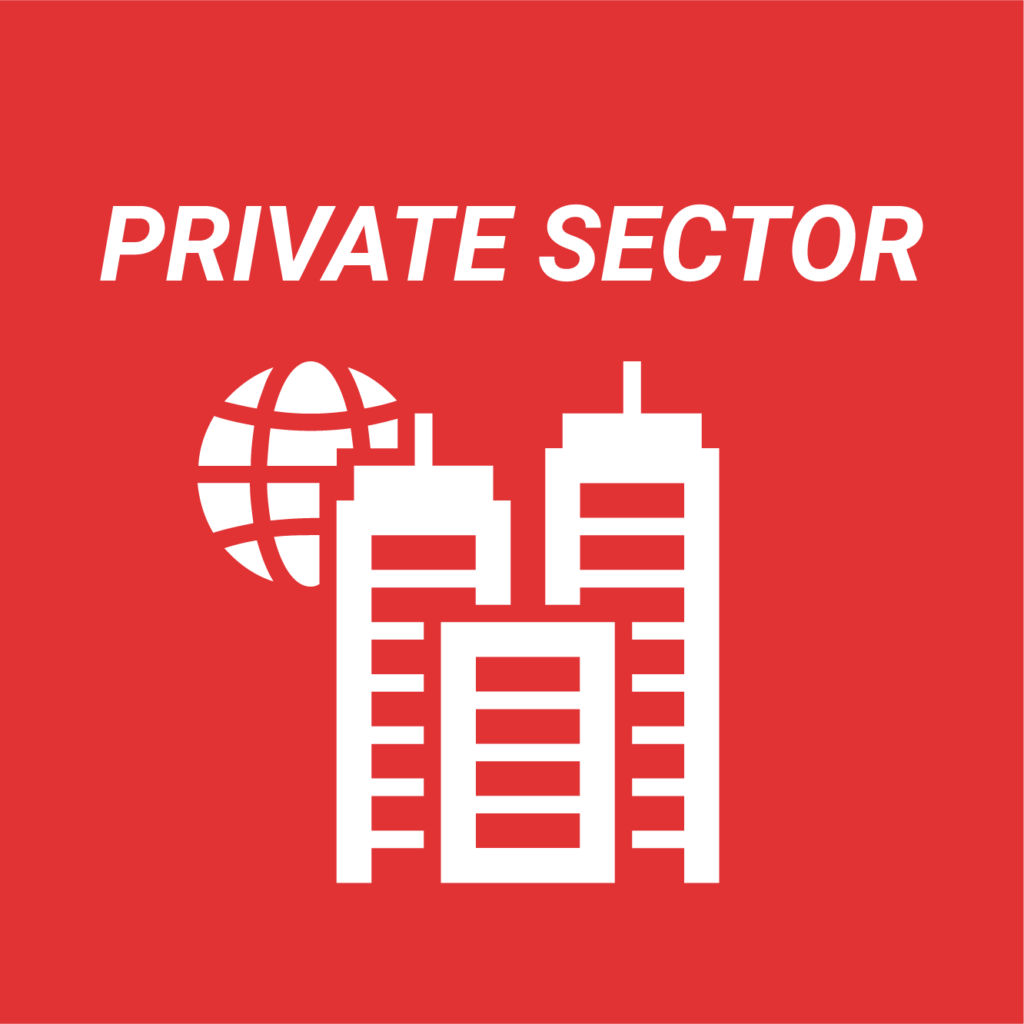 White text and icon on a red background which reads private sector and shows image of an office building