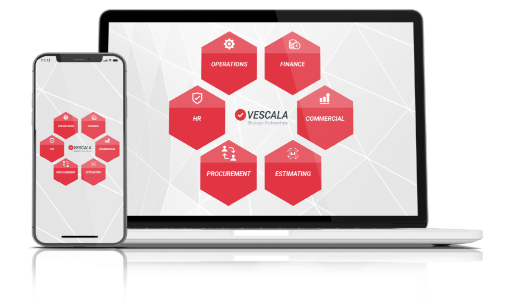The image shows a laptop and phone with a diagram which summarises what Vescala does. The diagram depicts the Vescala logo in the centre surrounded by 6 red hexagon each with a different word written inside accompanied with an icon to represent the word – Operations, Finance, Commercial, Estimating, Procurement, HR.